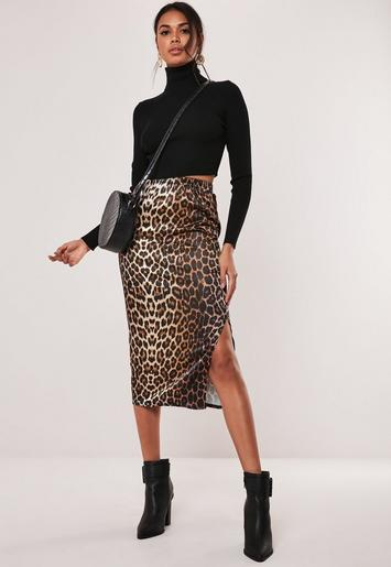 Coral Satin Slip Midi Skirt by Missguided