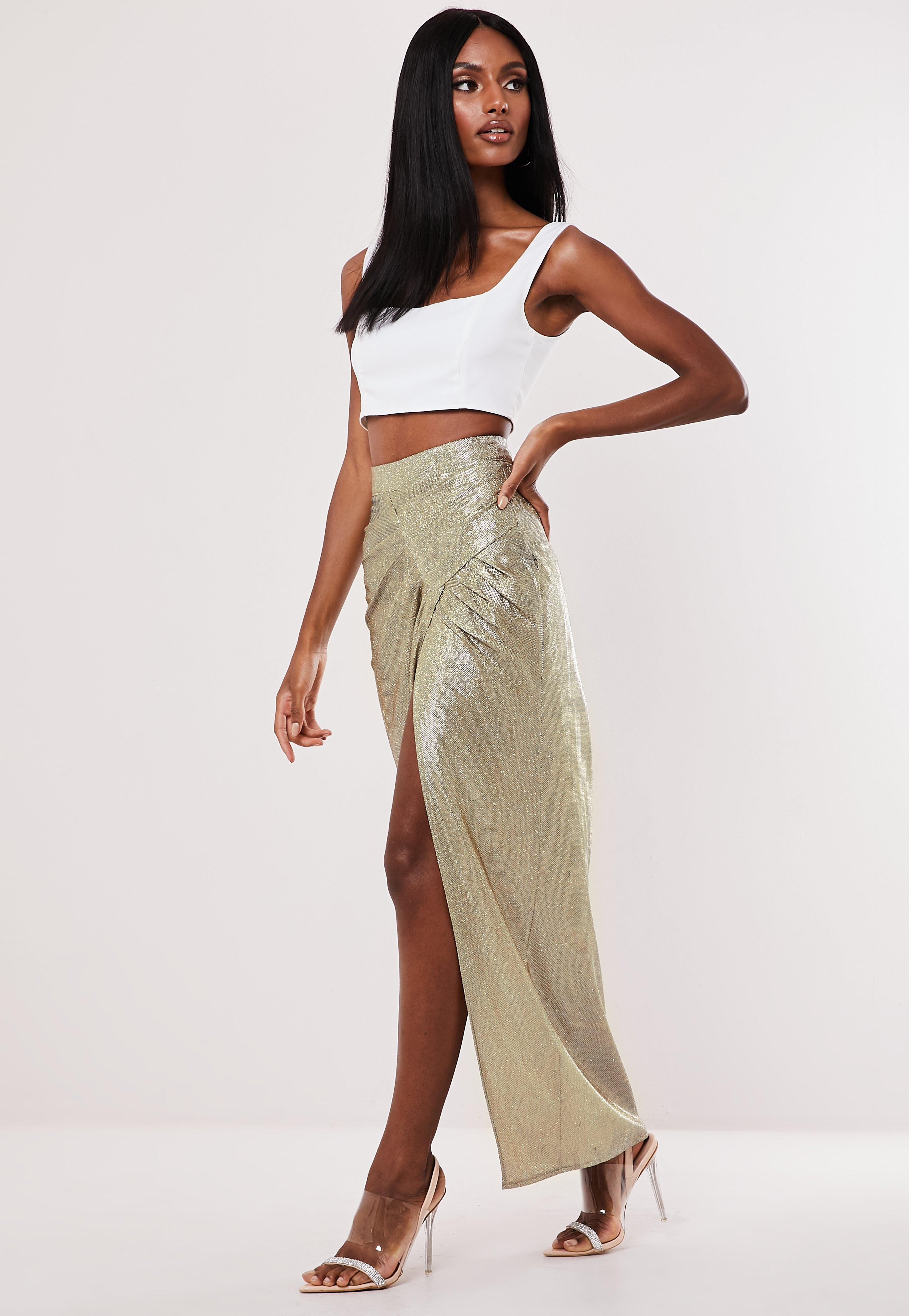 noveldesign huge selection of world-wide free shipping Gold Metallic Ruched Side Maxi Skirt