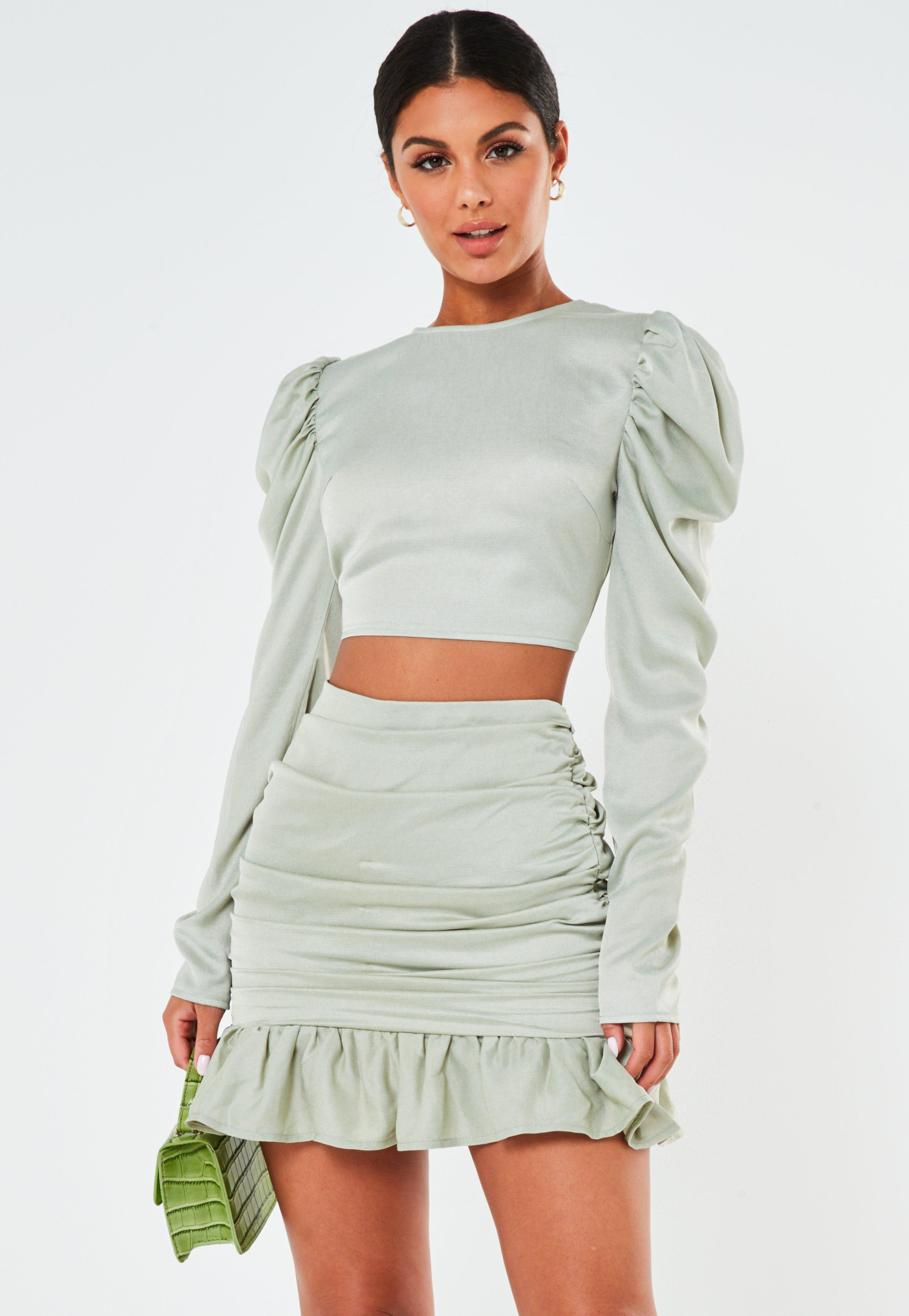 Mint Co Ord Satin Ruched Frill Mini Skirt | Missguided