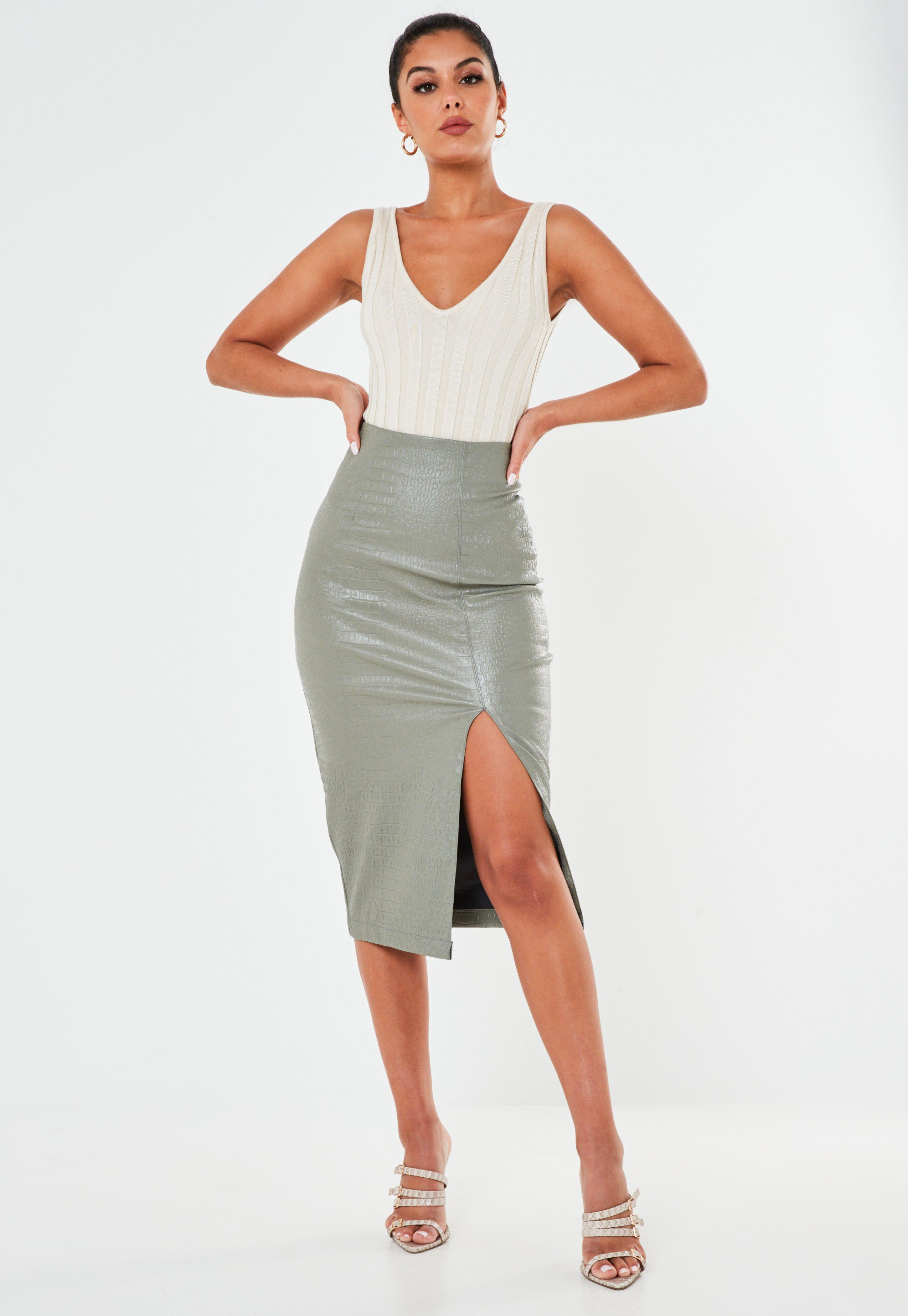 Image result for missguided green croc faux leather midi skirt
