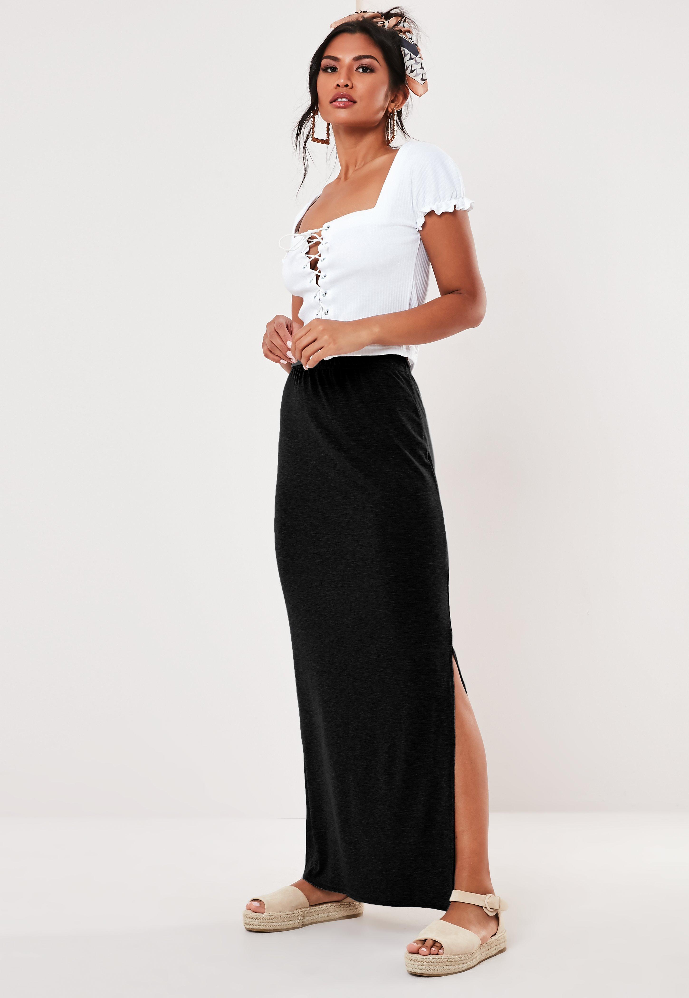 Long Jersey Skirts for Women Ruched Waist 40 Maxi Skirt BLACK