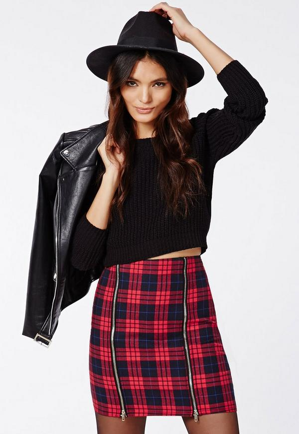 Berlinda Tartan Zip Detail Mini Skirt Red