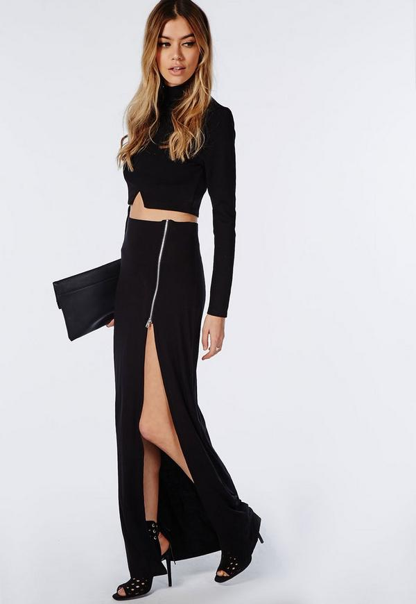 Natallia Zip Side Split Maxi Skirt Black