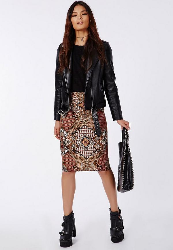 Davidar Paisley Print Jersey Midi Skirt Gold