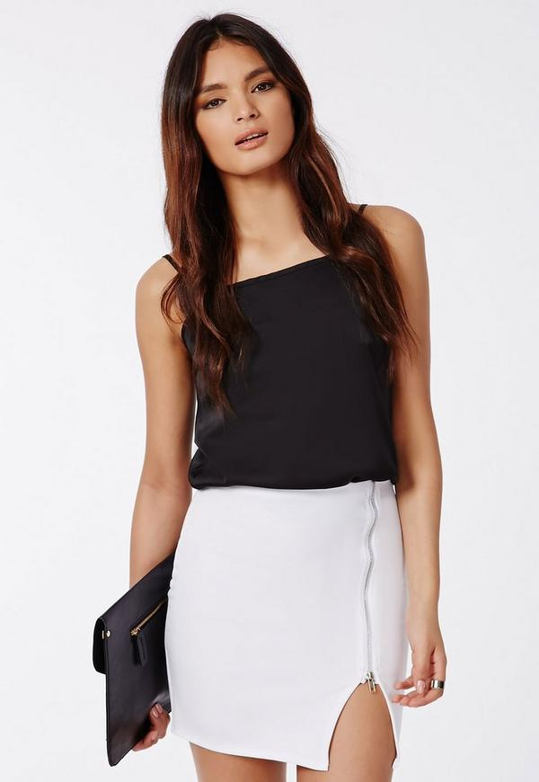 Perena Zip Side Split Mini Skirt White