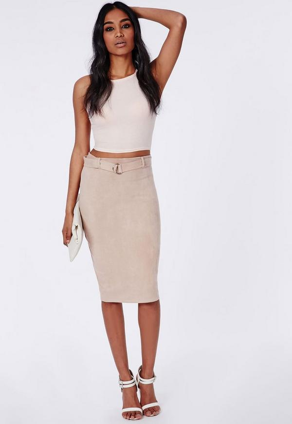 Belt Detail Faux Suede Midi Skirt Taupe