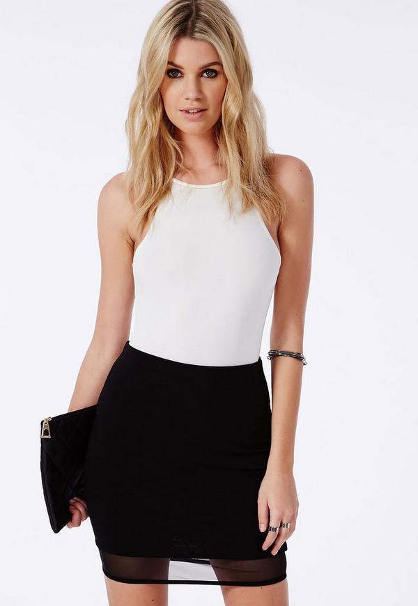 Mesh Hem Mini Skirt Black