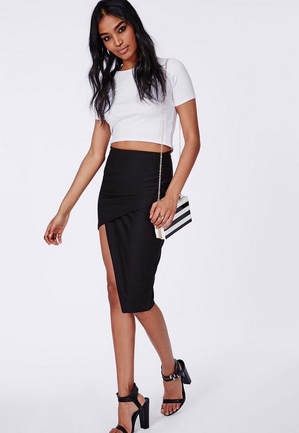 Asymmetric Midi Skirt Black - Skirts - Missguided