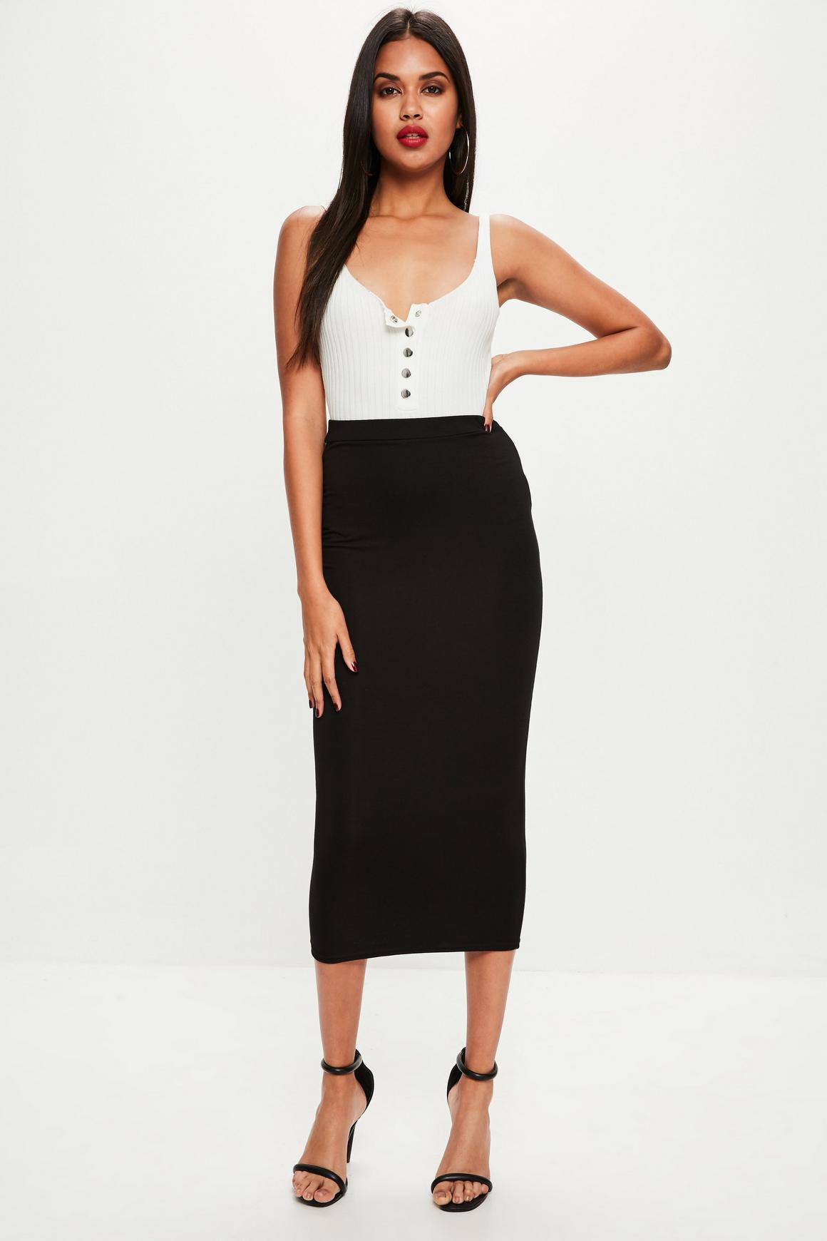 Longline Jersey Midi Skirt Black | Missguided