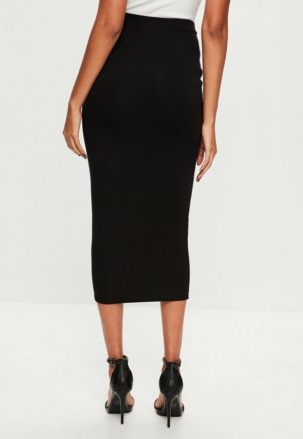 longline jersey midi skirt black missguided