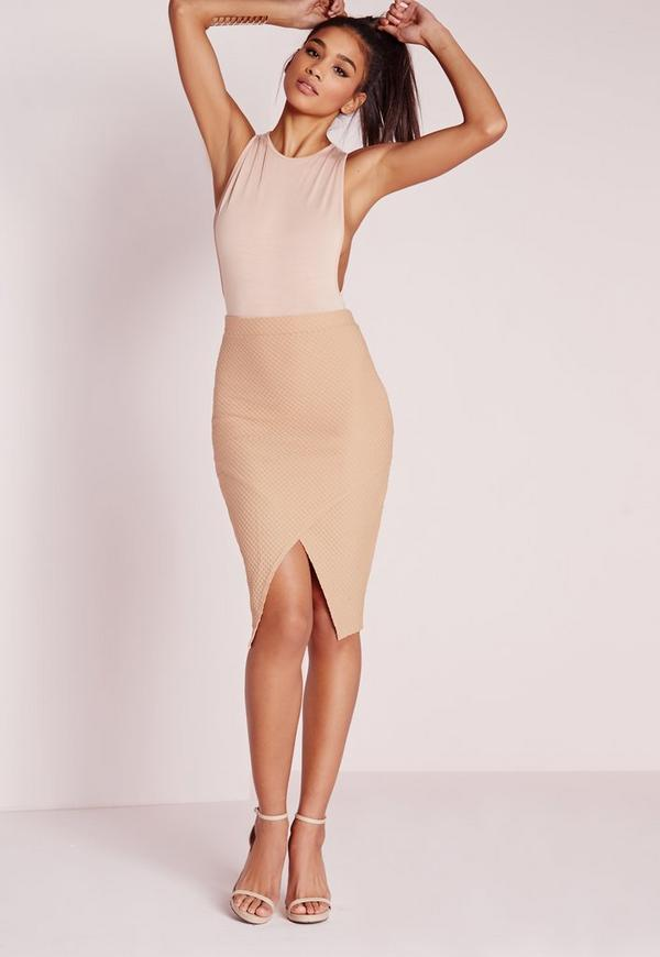 Textured Wrap Front Midi Skirt Camel
