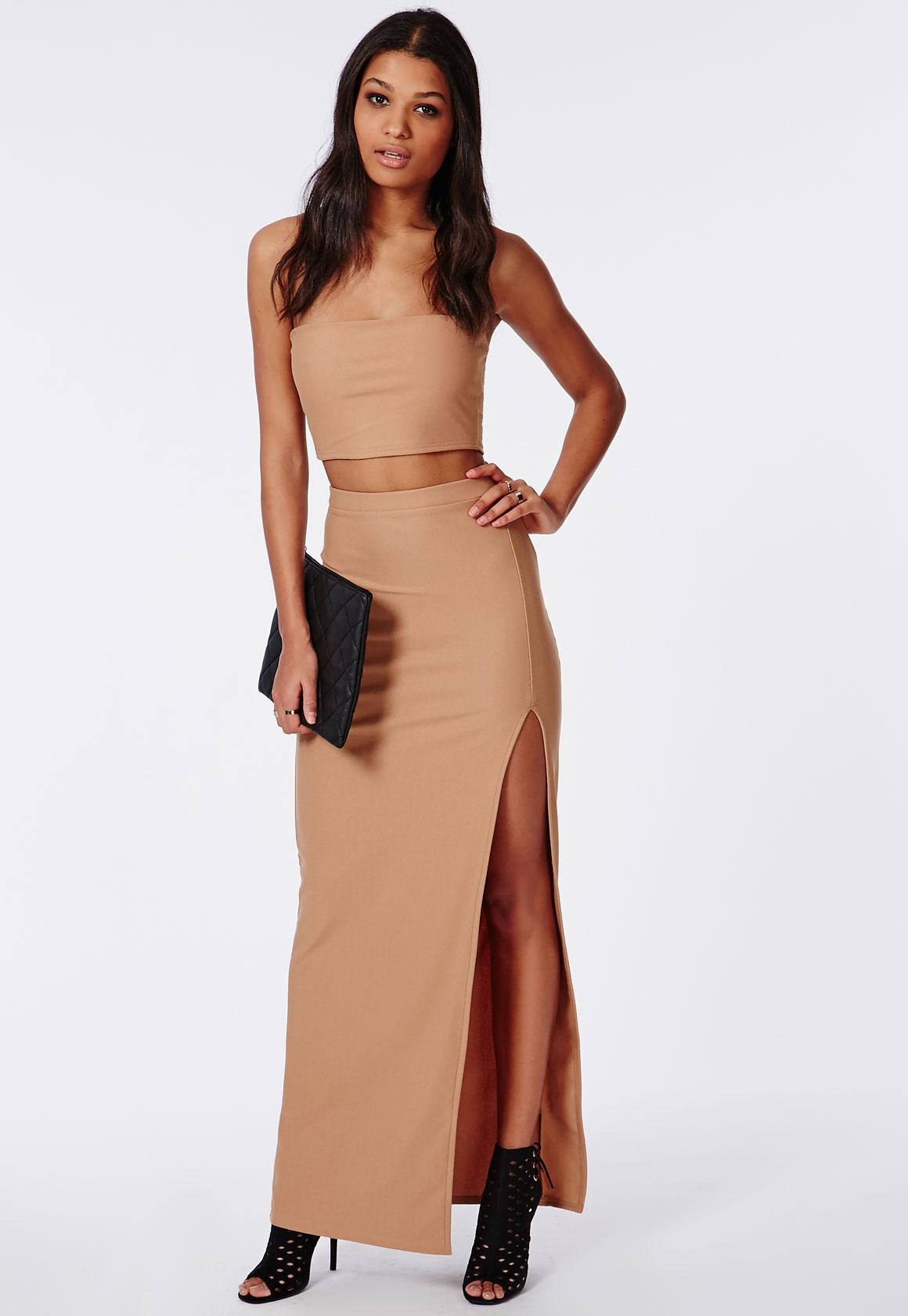Thigh High Split Maxi Skirt Camel | Missguided