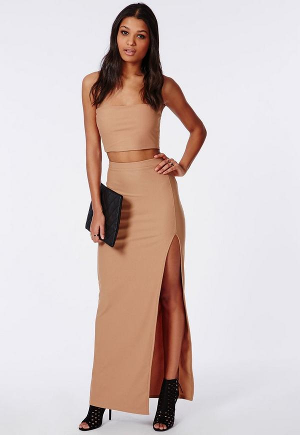 Thigh High Split Maxi Skirt Camel