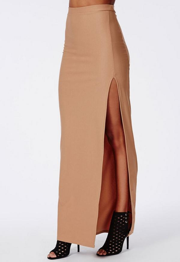 thigh high split maxi skirt camel missguided