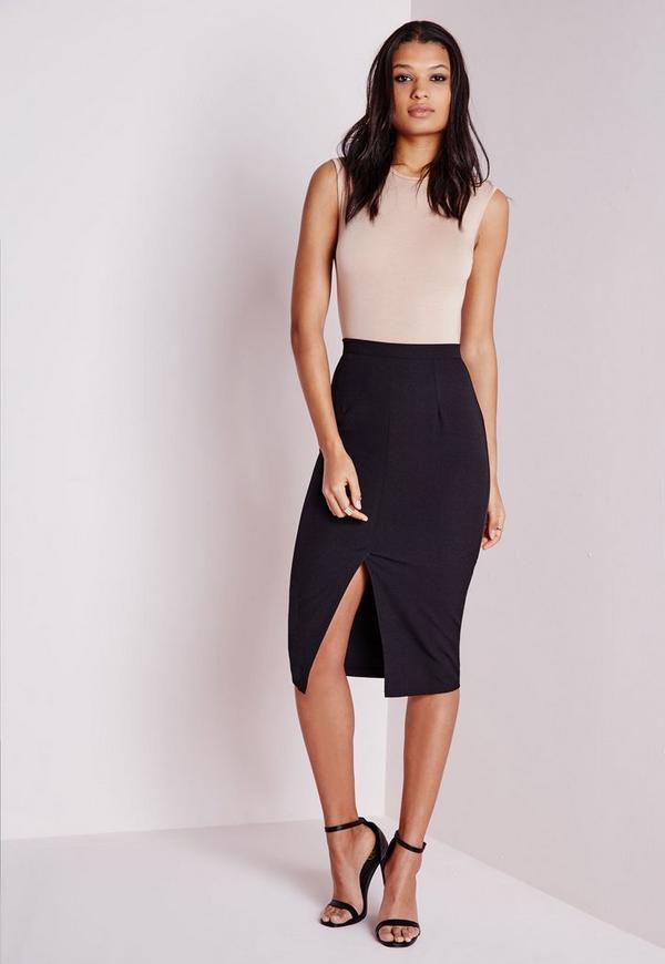 Front Split Bodycon Midi Skirt Black