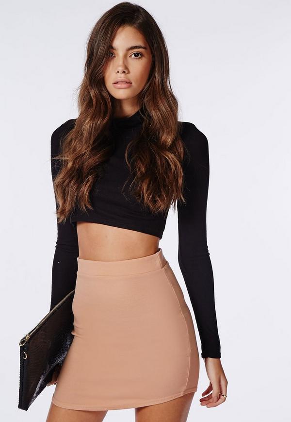 Ponte Curve Hem Mini Skirt Nude