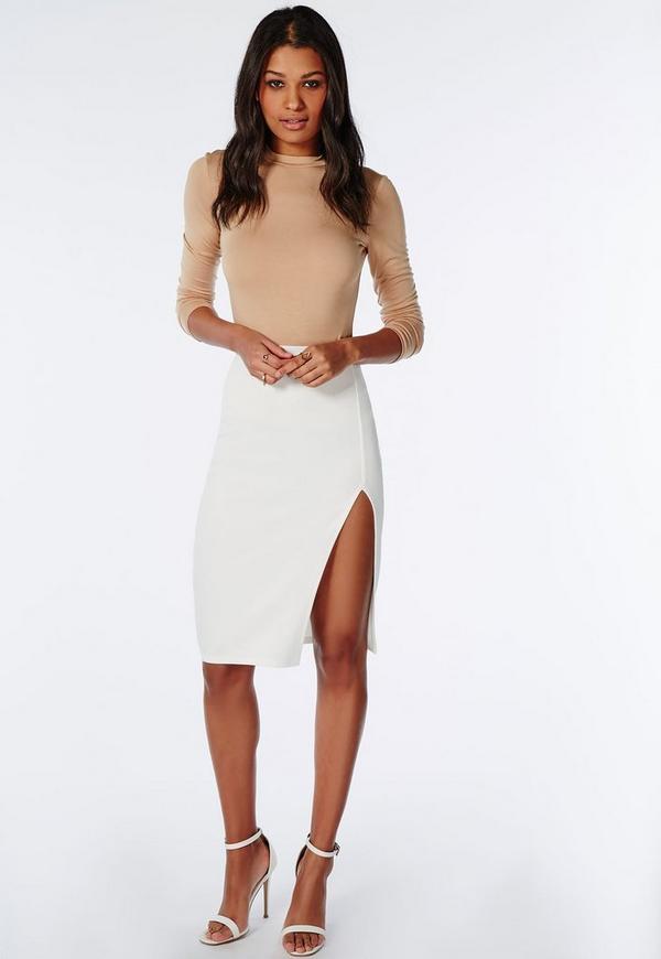 Thigh High Split Scuba Midi Skirt White