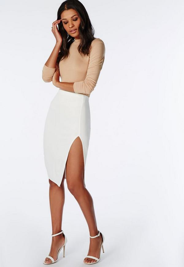 Thigh High Split Scuba Midi Skirt White - Skirts - Midi Skirts ...