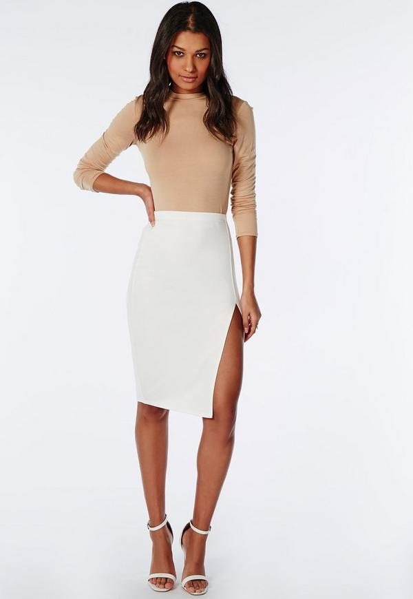 Thigh High Split Scuba Midi Skirt White | Missguided