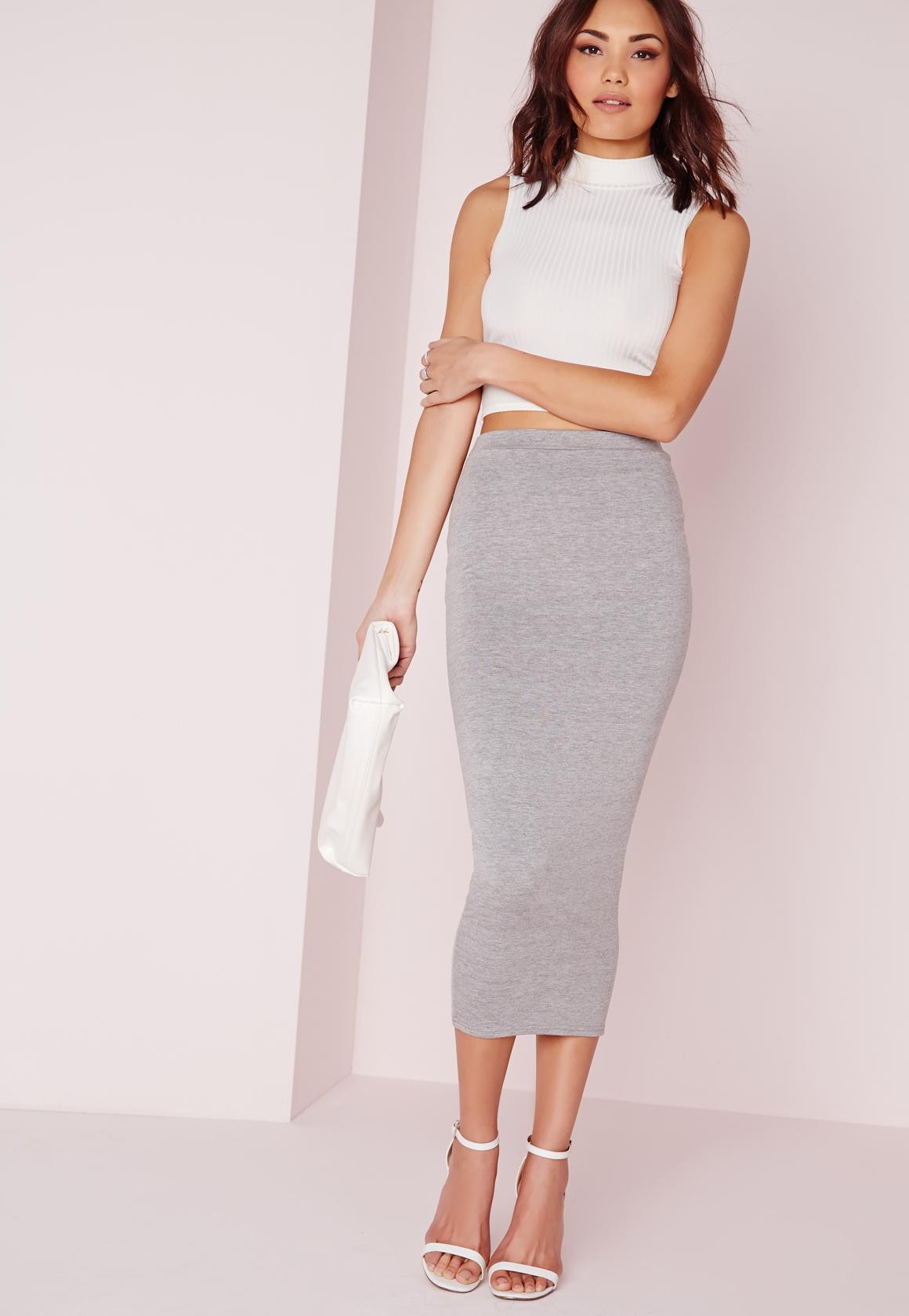 Longline Jersey Midi Skirt Grey - Skirts - Missguided
