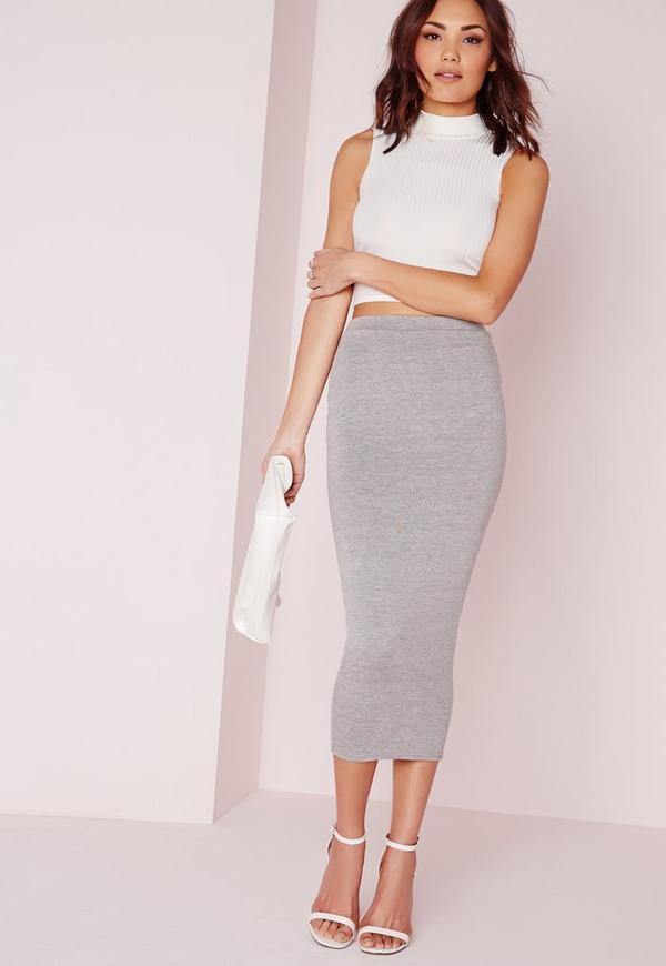 Longline Jersey Midi Skirt Grey