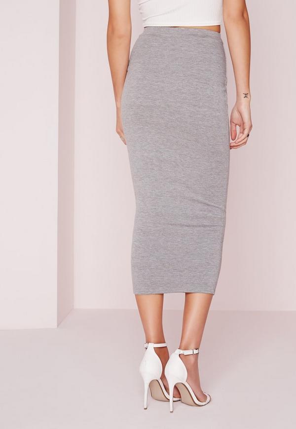 longline jersey midi skirt grey missguided