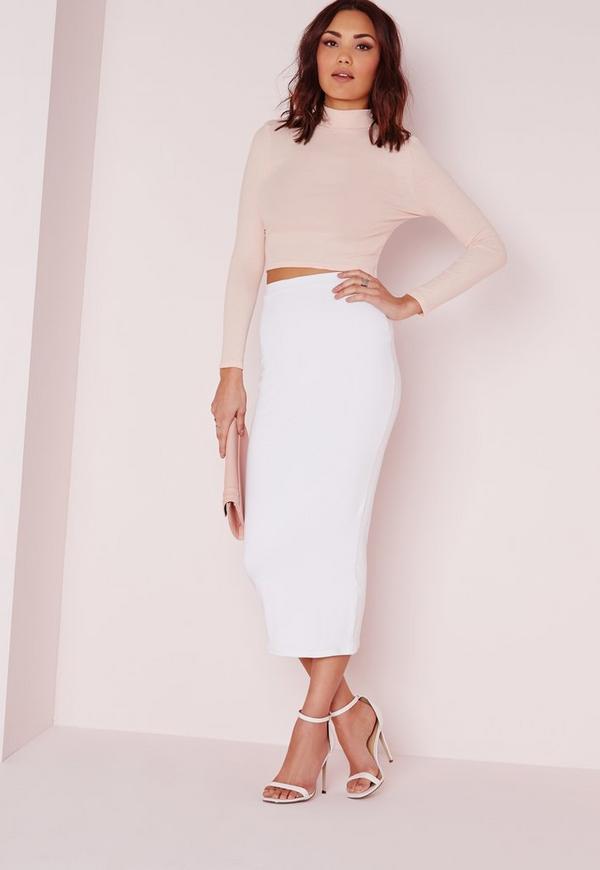 Longline Jersey Midi Skirt White