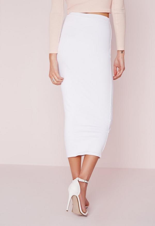 longline jersey midi skirt white missguided