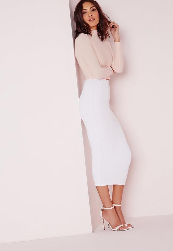 Longline Jersey Midi Skirt White | Missguided