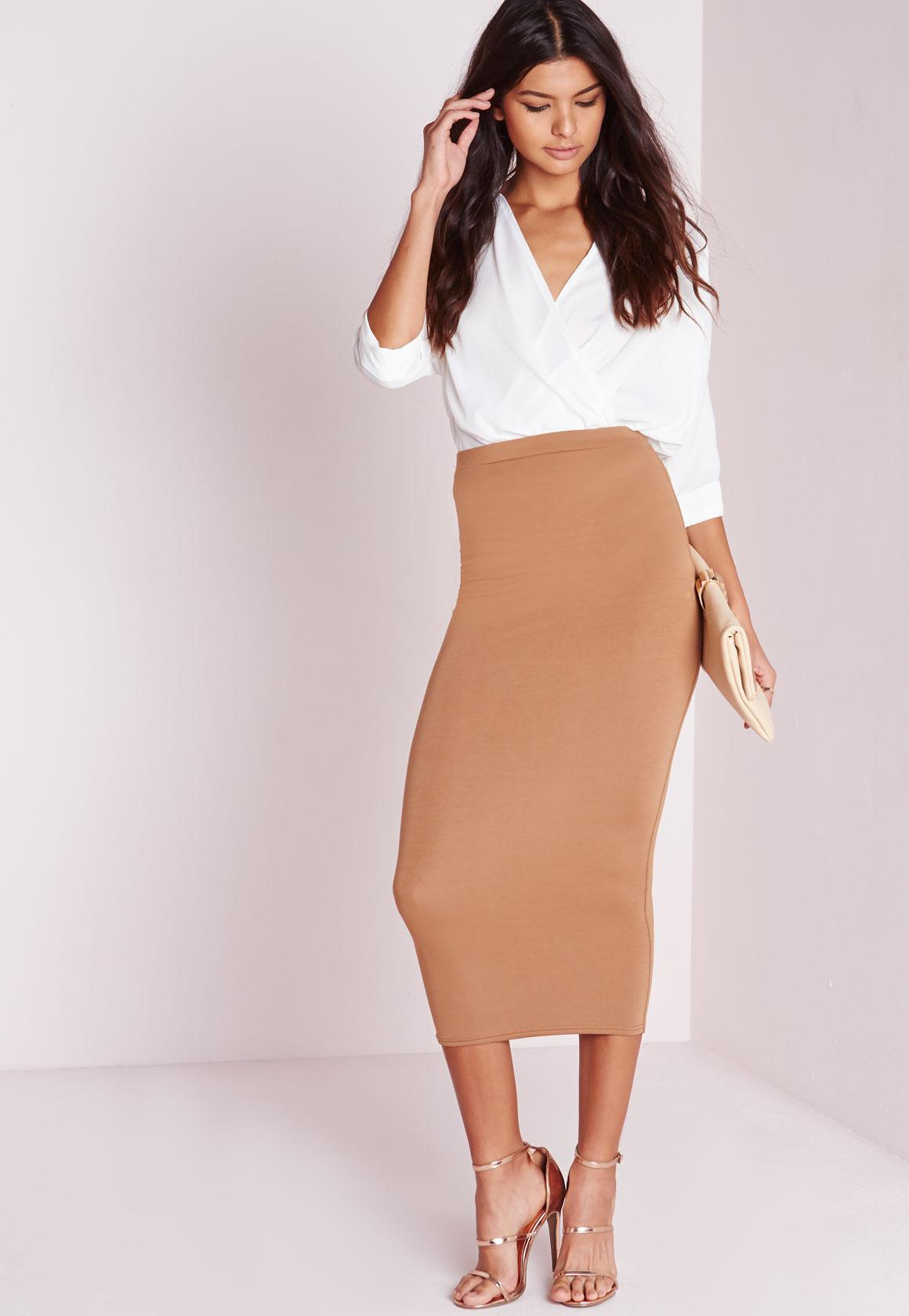 Longline Jersey Midi Skirt Camel - Skirts - Missguided