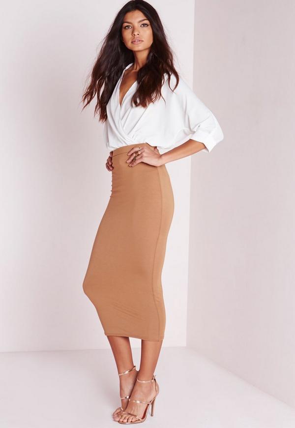 Longline Jersey Midi Skirt Camel | Missguided