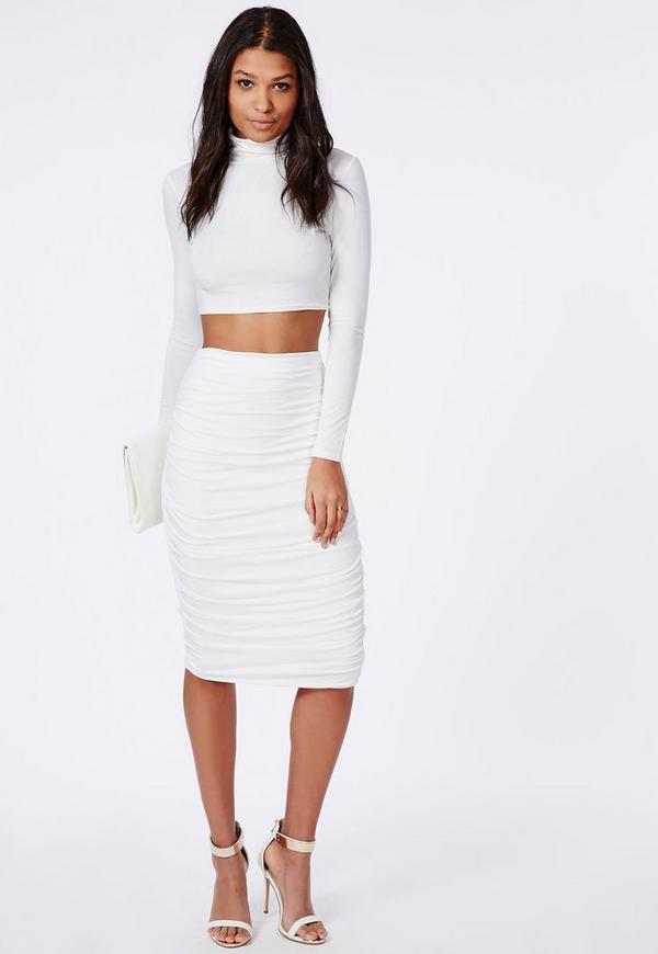 Ruched Seam Midi Skirt White