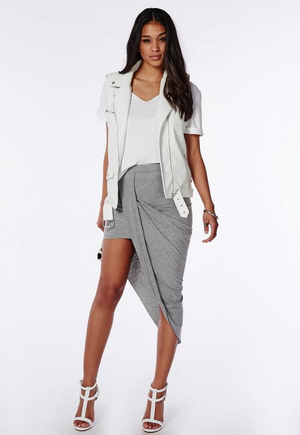Draped Asymmetric Jersey Midi Skirt Grey Marl