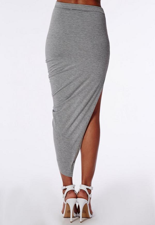 Draped Asymmetric Jersey Midi Skirt Grey Marl - Skirts - Missguided