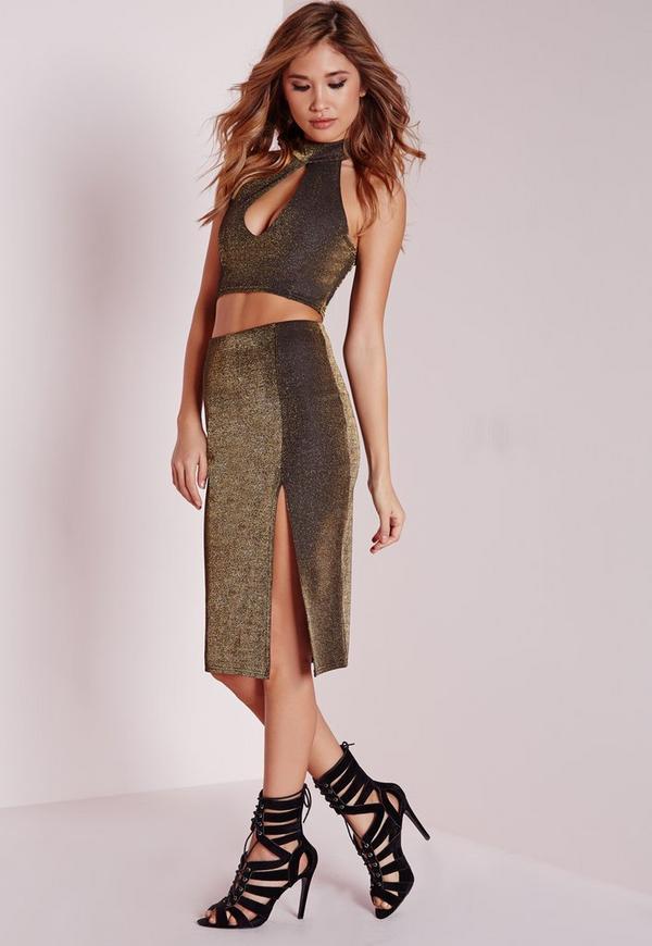 Front Split Glitter Midi Skirt Bronze
