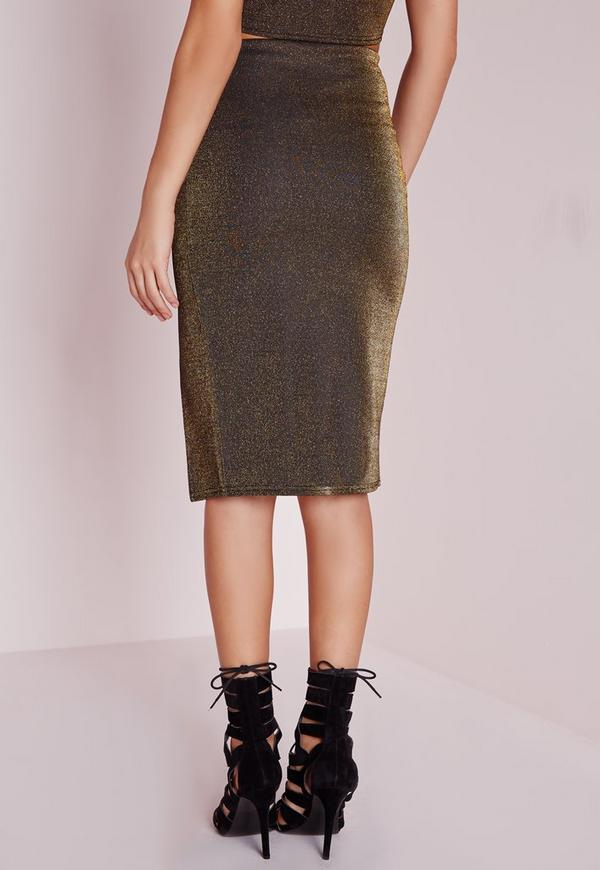 Front Split Glitter Midi Skirt Gold - Skirts - Co-Ord - Missguided