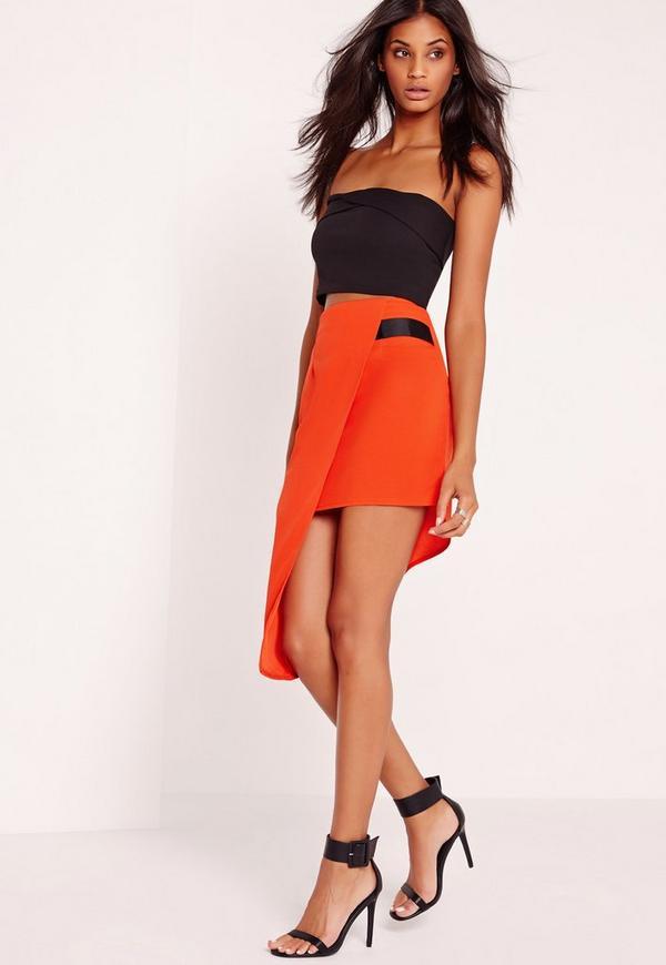 Asymmetric Wrap Midi Skirt Orange