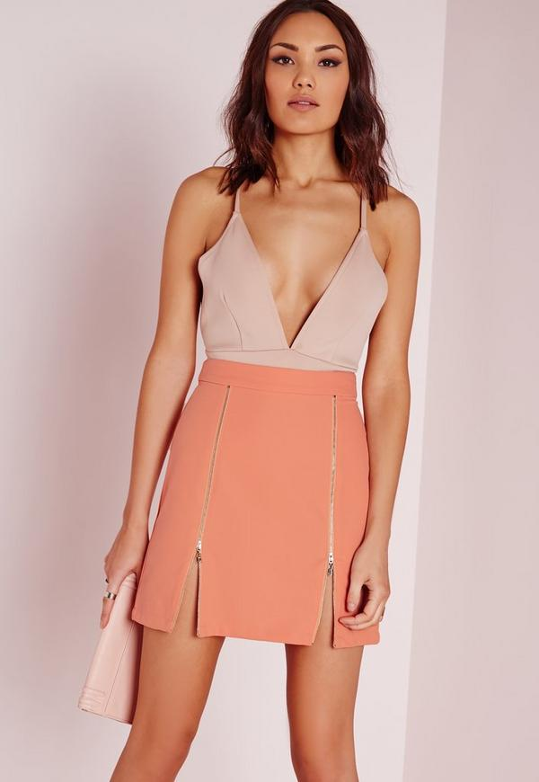 Zip Detail A Line Skirt Nude