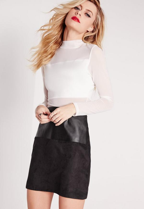 Faux Leather Suede Panel A Line Skirt Black