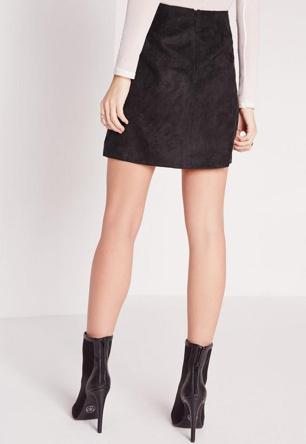 Faux Leather Suede Panel A Line Skirt Black | Missguided