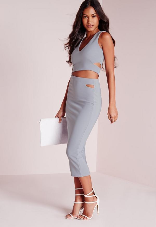 cut out waist midi skirt grey missguided