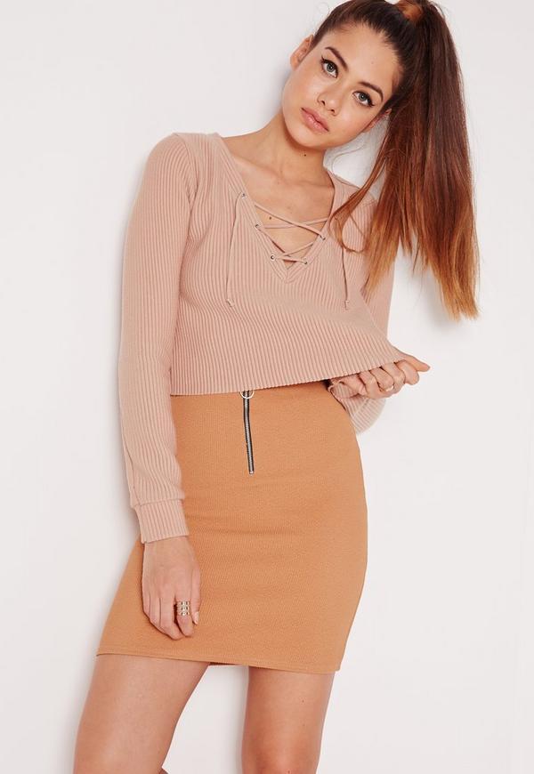 Zip Front Ribbed Mini Skirt Camel