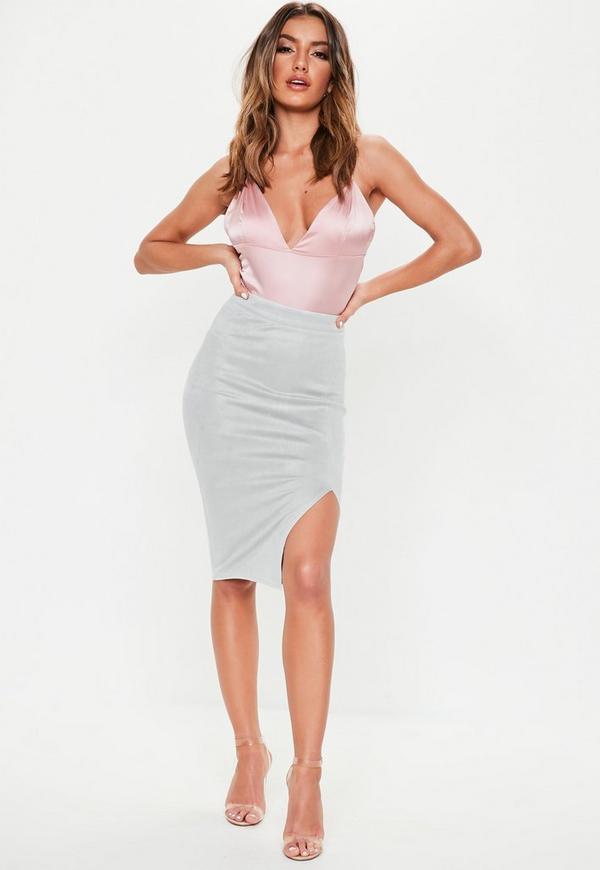 Grey Thigh Split Faux Suede Midi Skirt