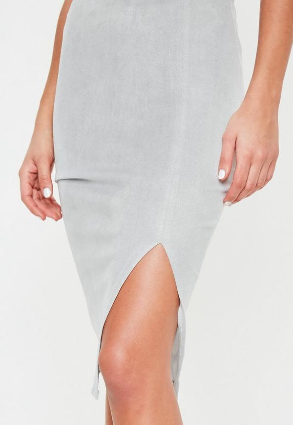 Thigh Split Faux Suede Midi Skirt Grey - Skirts - Faux Leather ...