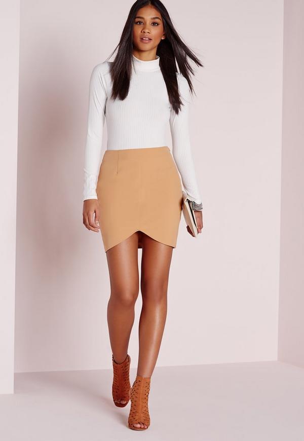 Curve Hem Mini Skirt Camel