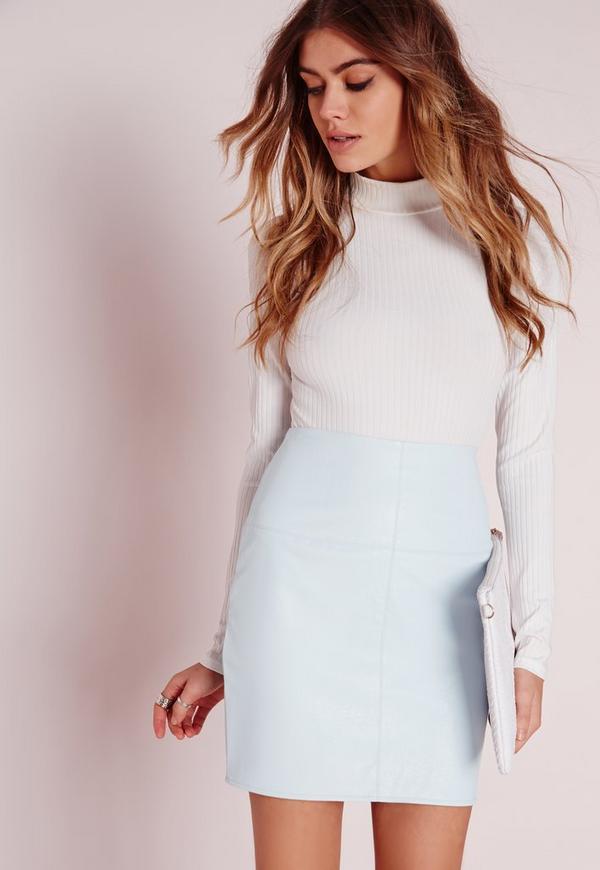 Faux Leather Mini Skirt Mint Blue