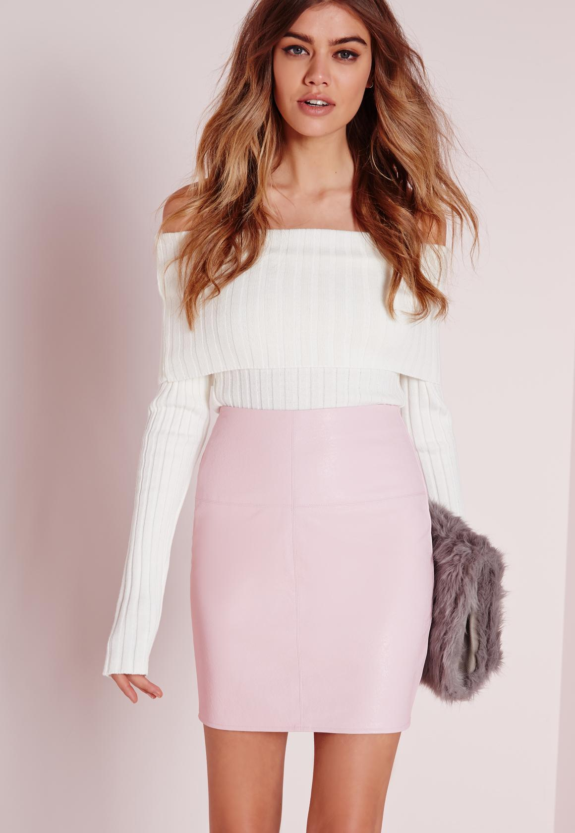 Faux Leather Mini Skirt in Pink | Missguided