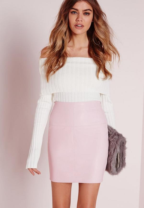 Faux Leather Mini Skirt in Pink