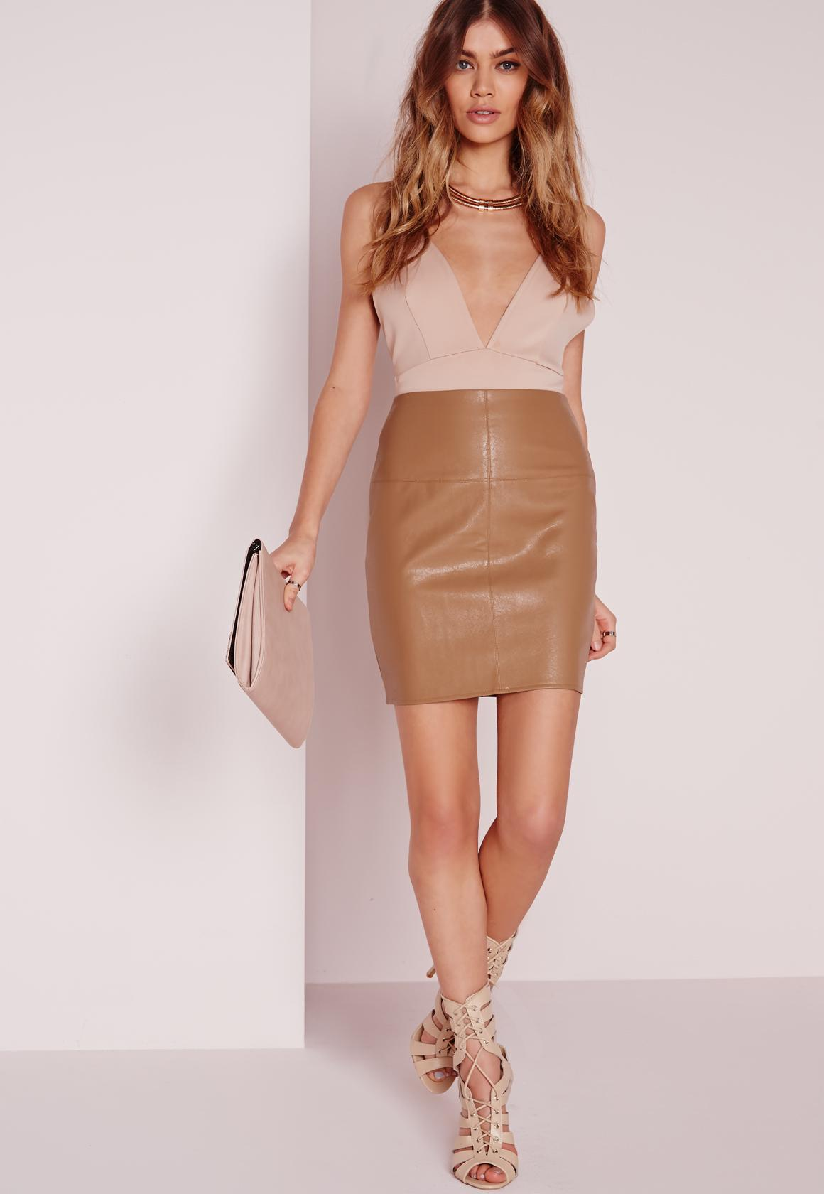 Faux Leather Mini Skirt In Camel
