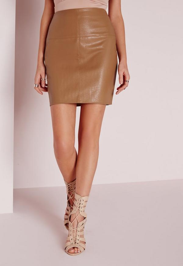 Faux Leather Mini Skirt In Camel | Missguided